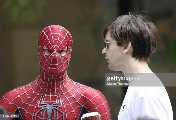 Tobey Maguire during Tobey Maguire Topher Grace James Cromwell and Bryce Dallas Howard on the Set of SpiderMan 3 May 28 2006 at 6th Avenue in New...
