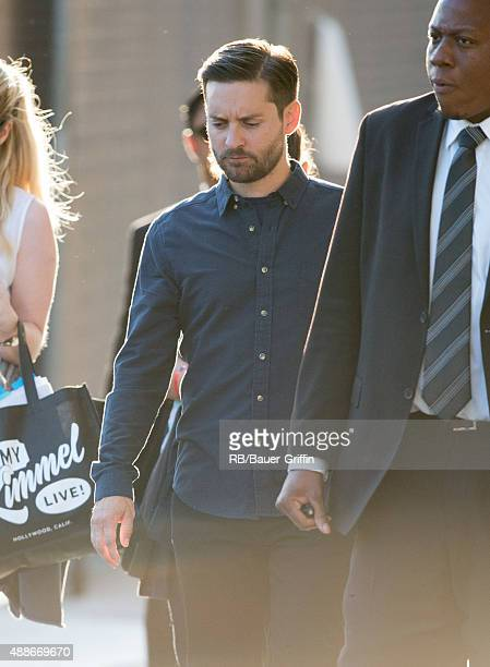 Tobey Maguire is seen at 'Jimmy Kimmel Live' on September 16 2015 in Los Angeles California