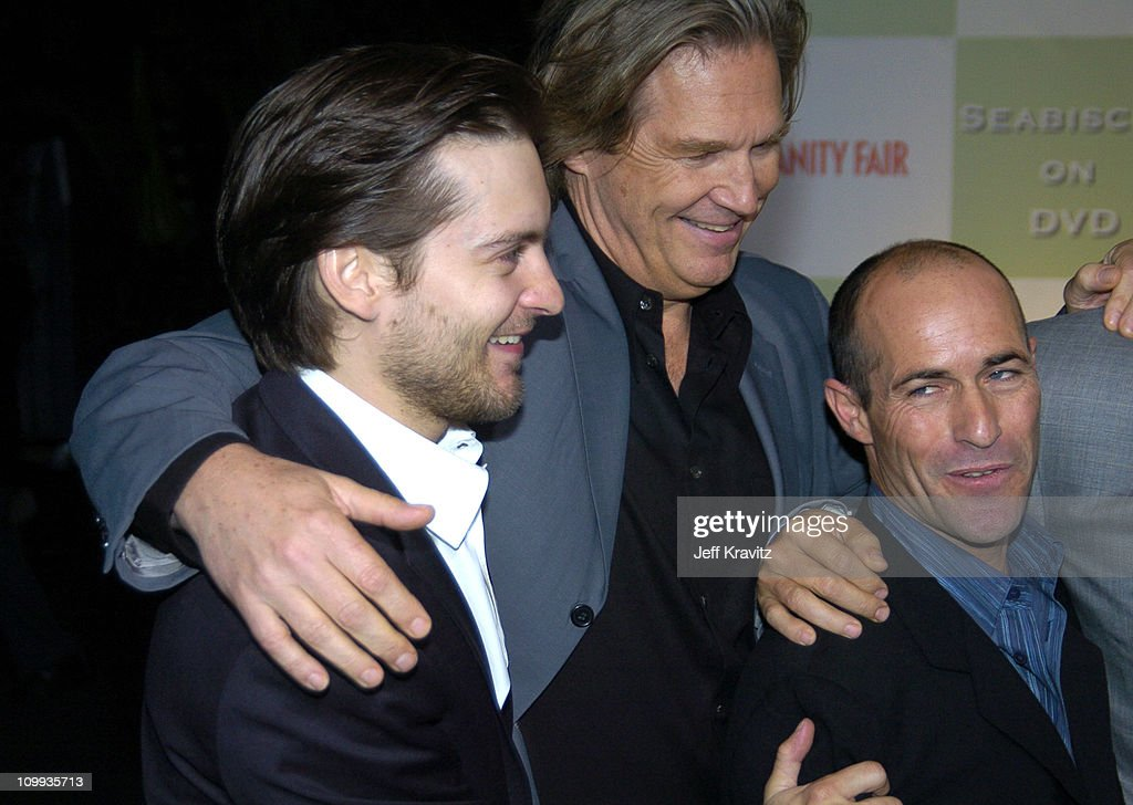 Tobey Maguire, Jeff Bridges and Gary Stevens during Seabiscuit DVD Launch - Arrivals at The Polo Lounge at the Beverly Hills Hotel in Beverly Hills, California, United States.