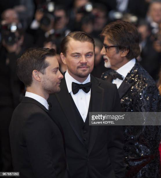 Tobey Maguire Leonardo DiCaprio and Amitabh Bachchan attend the Opening Ceremony and 'The Great Gatsby' Premiere during the 66th Annual Cannes Film...