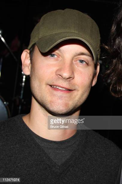 Tobey Maguire poses backstage at Rock of Ages off Broadway at New World Stages on January 5 2009 in New York City