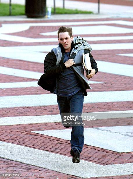 Tobey Maguire's Stunt Double during Tobey Maguire on Location for SpiderMan 2 at Manhattan in New York City New York United States