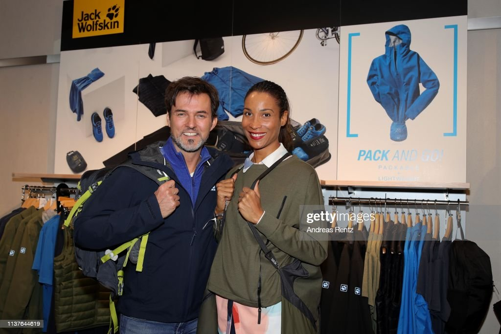 quality design f4fb4 a7226 Tobey Wilson and Annabelle Mandeng attend the Jack Wolfskin ...
