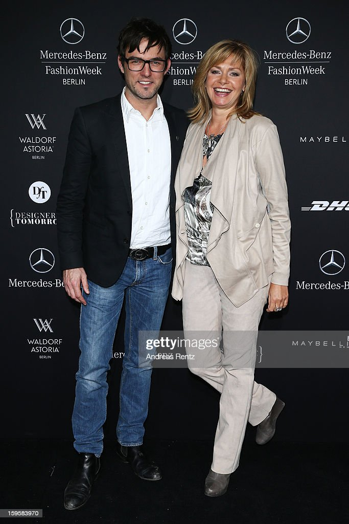 Tobey Wilson and Maren Gilzer attend the Agne Kuzmickaite, Igrida Zabere, Kaetlin Kaljuvee Autumn/Winter 2013/14 fashion show during Mercedes-Benz Fashion Week Berlin at Brandenburg Gate on January 16, 2013 in Berlin, Germany.