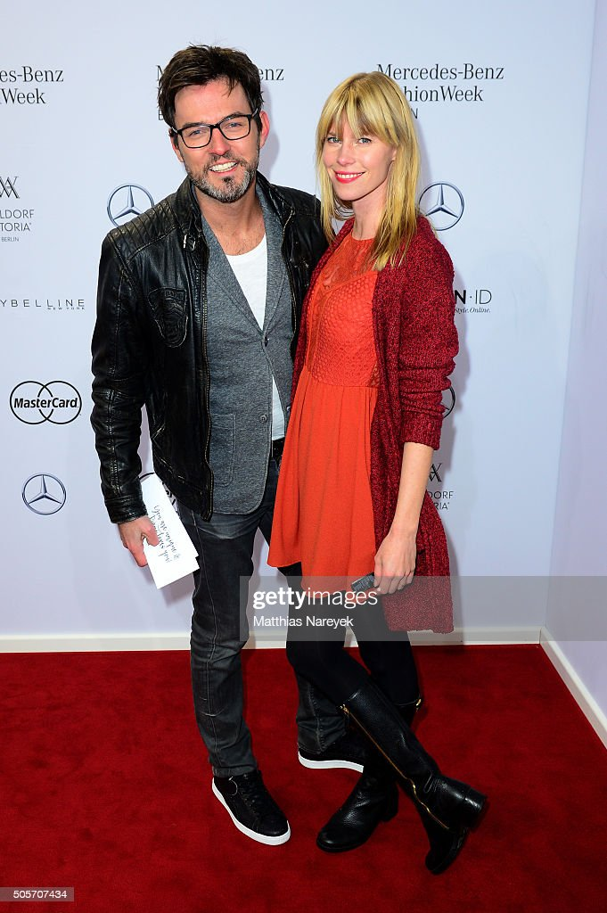 Tobey Wilson and Sabrina Gehrmann attend the Riani show during the Mercedes-Benz Fashion Week Berlin Autumn/Winter 2016 at Brandenburg Gate on January 19, 2016 in Berlin, Germany.