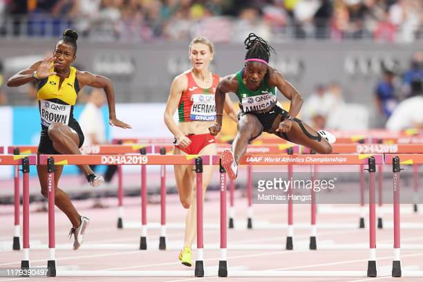 Tobi Amusan of Nigeria competes in the Women's 100 metres hurdles semi finals during day ten of 17th IAAF World Athletics Championships Doha 2019 at...