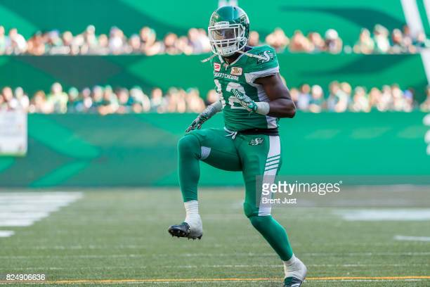 Tobi Antigha of the Saskatchewan Roughriders celebrates after making a tackle on the game between the Toronto Argonauts and Saskatchewan Roughriders...
