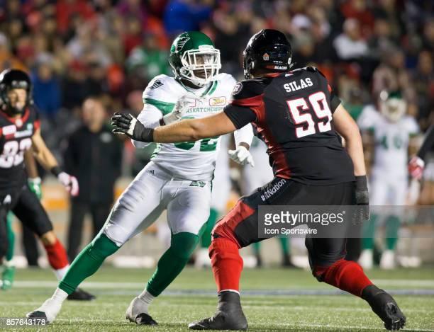Tobi Antigha of the Saskatchewan Roughriders tries to crack the Ottawa Redblacks offensive line The Saskatchewan Rough Riders defeated the Ottawa...