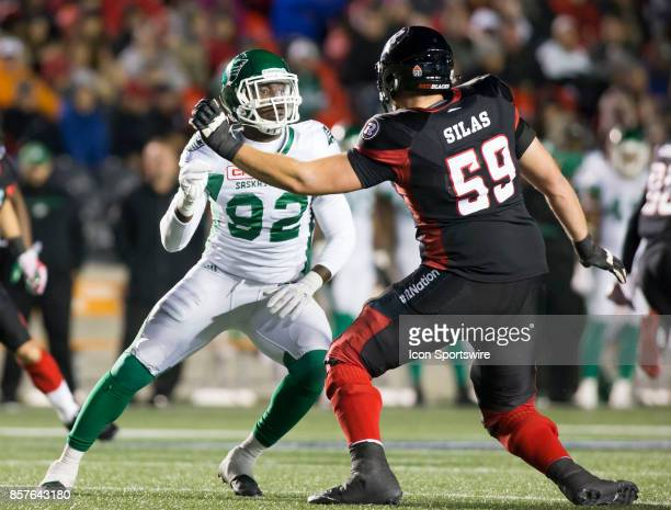 Tobi Antigha of the Saskatchewan Roughriders tries to crack the Ottawa Redblacks offensive line The Saskatchewan Rough Riders defeated the Ottawa...
