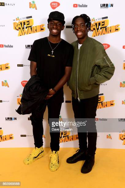 Tobi Brown and Manny Brown attend UK Grime and Hip Hop the KA GRM Daily RATED AWARDS at legendary music venue The Roundhouse on October 24 2017 in...