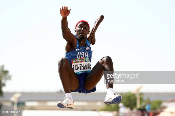 Tobi Fawehinmi of the USA in action during the Men's T47 Long Jump Final on Day Five of the IPC World Para Athletics Championships 2019 Dubai on...