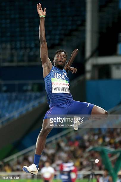 Tobi Fawehinmi of United States competes during the Men's Long Jump T47 final at Olympic Stadium on day 7 of the Rio 2016 Paralympic Games at on...