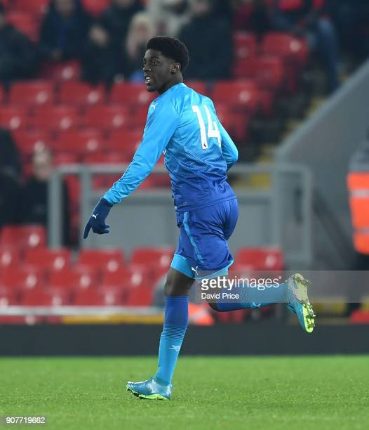 Tobi Omole of Arsenal during the FA Youth Cup 4th Round match between Liverpool and Arsenal at Anfield on January 20 2018 in Liverpool England