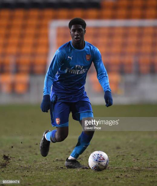 Tobi Omole of Arsenal during the match between Blackpool and Arsenal at Bloomfield Road on March 20 2018 in Blackpool England