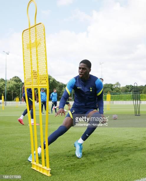 Tobi Omole of Tottenham Hotspur during the Tottenham Hotspur pre-season training session at Tottenham Hotspur Training Centre on July 29, 2021 in...