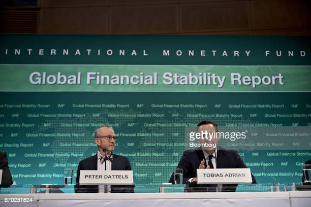 Tobias Adrian financial counselor and director of the monetary and capital markets at the International Monetary Fund speaks as Peter Dattels deputy...