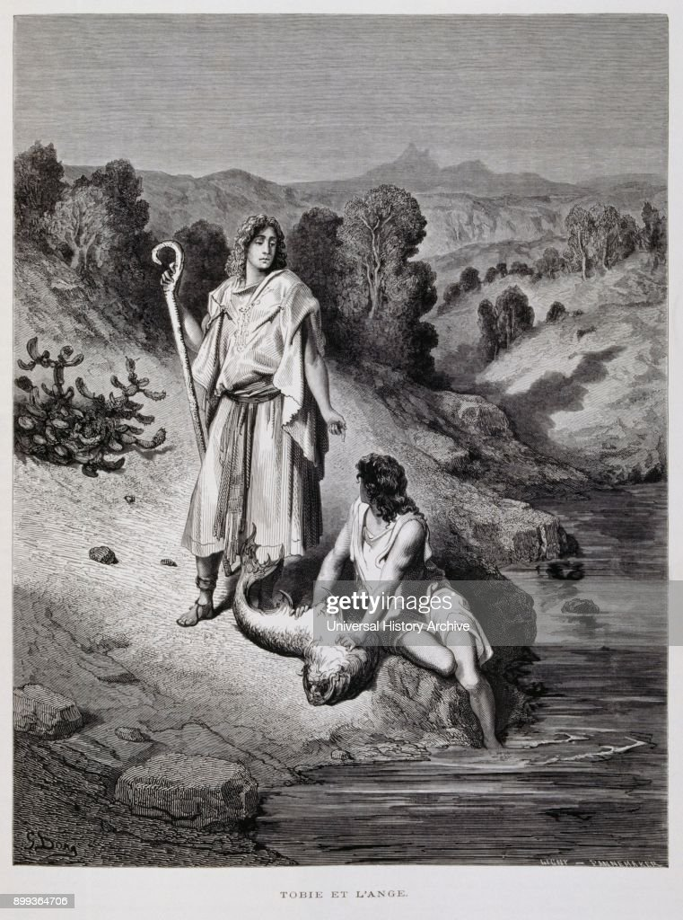 Tobias And The Angel Illustration From The Dore Bible 1866 In 1866