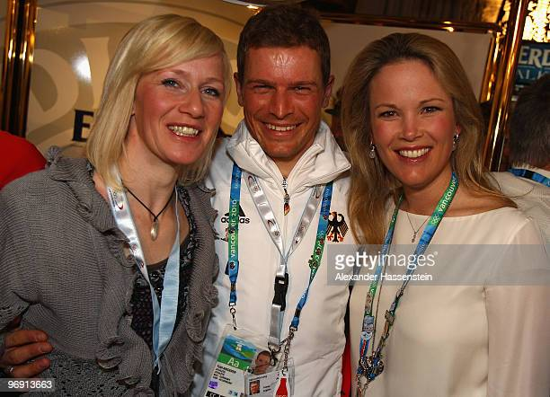 Tobias Angerer of Germany smiles after winnning the silver medal in the Men's 30 km Pursuit with his wife Romy Angerer Stephanie zu Guttenberg, wife...