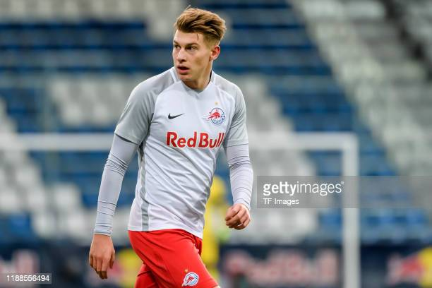 Tobias Anselm of RB Salzburg looks on during the UEFA Youth League match between RB Salzburg U19 and Liverpool U19 on December 10, 2019 in Groedig...