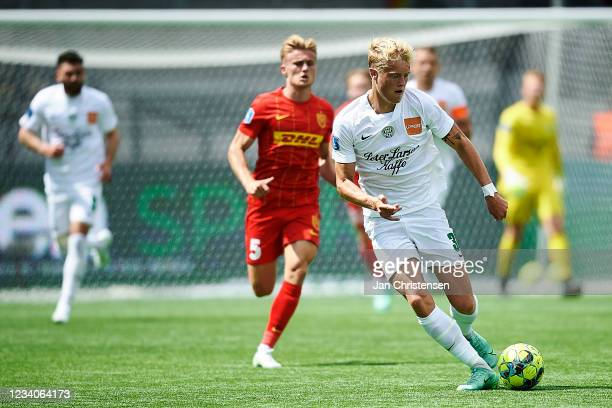 Tobias Bech of Viborg FF in action during the Danish 3F Superliga match between FC Nordsjalland and Viborg FF at Right to Dream Park on July 18, 2021...