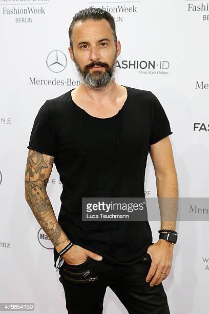 Tobias Bojko attends the Anja Gockel show during the MercedesBenz Fashion Week Berlin Spring/Summer 2016 at Brandenburg Gate on July 8 2015 in Berlin...