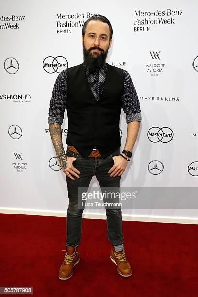 Tobias Bojko attends the Anja Gockel show during the MercedesBenz Fashion Week Berlin Autumn/Winter 2016 at Brandenburg Gate on January 20 2016 in...
