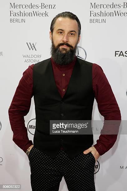 Tobias Bojko attends the Ewa Herzog show during the MercedesBenz Fashion Week Berlin Autumn/Winter 2016 at Brandenburg Gate on January 21 2016 in...