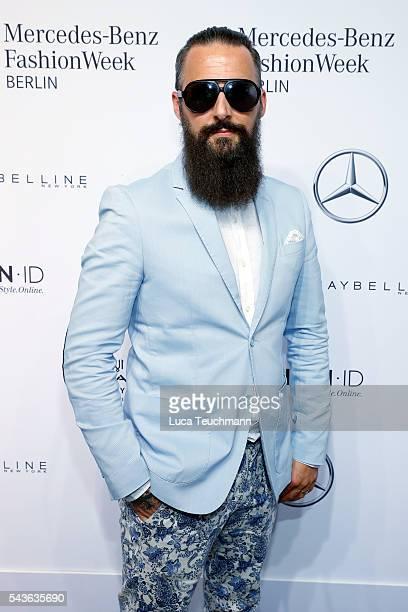 Tobias Bojko attends the Guido Maria Kretschmer show during the MercedesBenz Fashion Week Berlin Spring/Summer 2017 at Erika Hess Eisstadion on June...