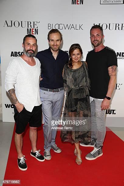Tobias Bojko Sarah Alles and Daniel Heilig attend the AJOURE Berlin Fashion Week Opening Party at LNFA Space Bikini Berlin on July 6 2015 in Berlin...