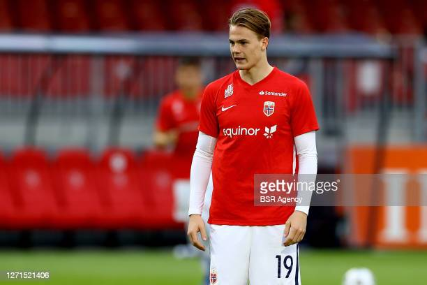 Tobias Christensen of Norway warms up before the UEFA Euro Under 21 Qualifing match between The Netherlands and Norway on September 8, 2020 in...