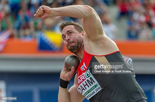 Tobias Dahm of Germany pushing hard during the menÕs shot put finals at the Olympic Stadium during Day Five of the 23rd European Athletics...