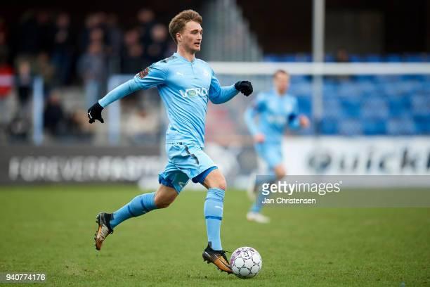 Tobias Damsgaard of Randers FC in action during the Danish Alka Superliga match between Randers FC and Lyngby BK at BioNutria Park Randers on April...