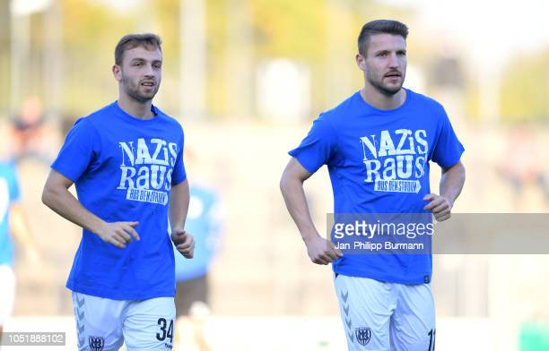 Tobias Dombrowa and Tom Nattermann of SV Babelsberg 03 before the game between Hertha BSC and the SV Babelsberg 03 at the KarlLiebknechtStadion on...