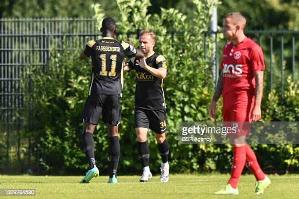 Tobias Dombrowa of sv Meppen celebrating his goal during the Pre-season Friendly match between Almere City FC and sv Meppen on July 17, 2021 in...
