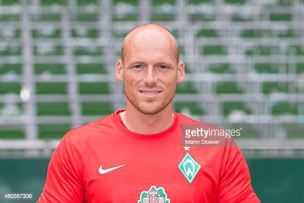 Tobias Duffner poses during the official team presentation of Werder Bremen II at Weserstadium on July 10 2015 in Bremen Germany