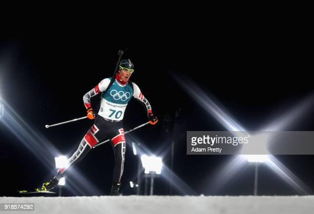 Tobias Eberhard of Austria competes during the Men's 20km Individual Biathlon at Alpensia Biathlon Centre on February 15 2018 in Pyeongchanggun South...