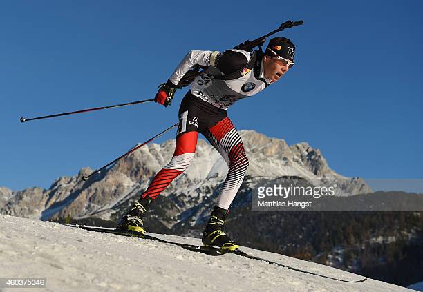Tobias Eberhard of Austria of France competes in the men's 10 km sprint event during the IBU Biathlon World Cup on December 12 2014 in Hochfilzen...