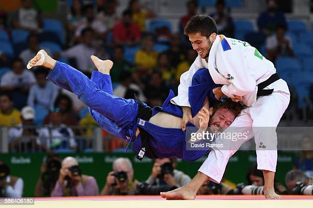 Tobias Englmaier of Germany competes against Francisco Garrigos of Spain in the Men's 60 kg Judo on Day 1 of the Rio 2016 Olympic Games at Carioca...