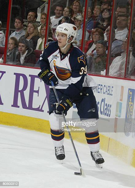 Tobias Enstrom of the Atlanta Thrashers carries the puck during their NHL game against the Carolina Hurricanes on March 28 2008 at RBC Center in...
