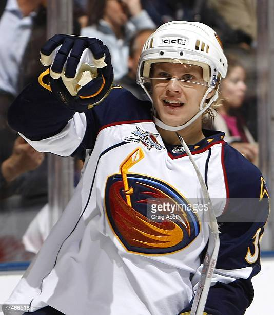 Tobias Enstrom of the Atlanta Thrashers celebrates his first period goal against the Toronto Maple Leafs October 23 2007 at the Air Canada Centre in...