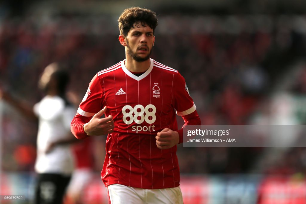 Tobias Figueiredo of Nottingham Forest during the Sky Bet Championship match between Nottingham Forest and Derby County at City Ground on March 11, 2018 in Nottingham, England.