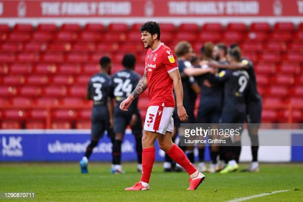 Tobias Figueiredo of Nottingham Forest looks dejected after conceding a goal from Henrik Dalsgaard of Brentford during the Sky Bet Championship match...