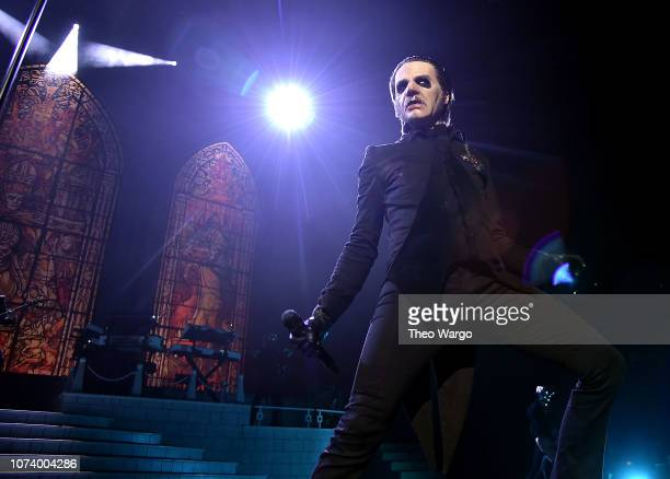 Tobias Forge performing as Cardinal Copia of the band Ghost at Barclays Center on December 15 2018 in New York City