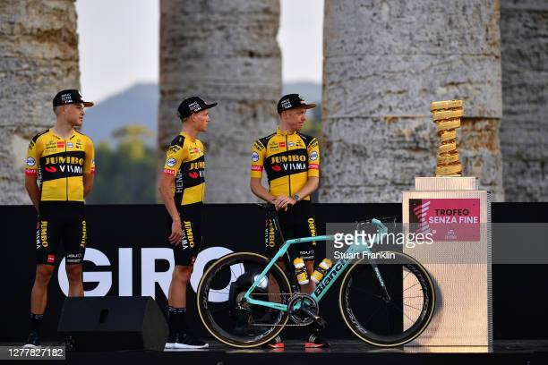 Tobias Foss of Norway and Team Jumbo - Visma / Koen Bouwman of The Netherlands and Team Jumbo - Visma / Steven Kruijswijk of The Netherlands and Team...