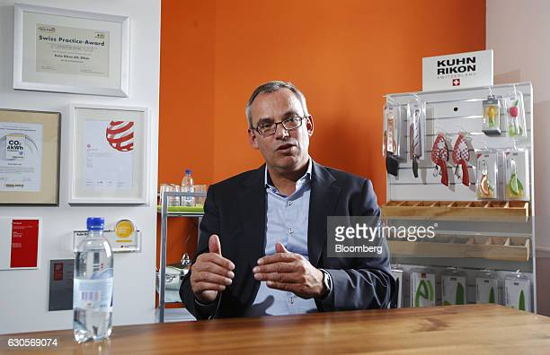 Tobias Gerfin chief executive officer of Kuhn Rikon AG speaks during an interview inside the Kuhn Rikon AG factory in Rikon im Tosstal near...