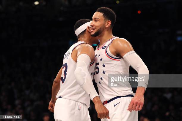 Tobias Harris and Ben Simmons of the Philadelphia 76ers react in the fourth quarter against the Brooklyn Nets during game three of Round One of the...