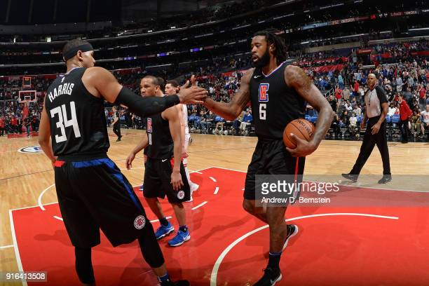 Tobias Harris and DeAndre Jordan of the LA Clippers exchange a high five after the game against the Chicago Bulls on February 3 2018 at STAPLES...
