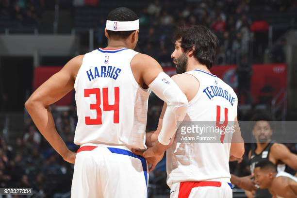Tobias Harris and Milos Teodosic of the LA Clippers look on during the game against the Brooklyn Nets on March 4 2018 at STAPLES Center in Los...