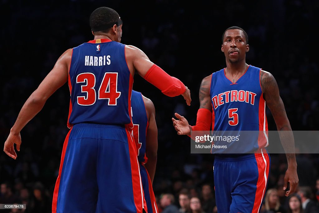 Tobias Harris #34 celebrates with Kentavious Caldwell-Pope #5 of the Detroit Pistons after a foul against the Brooklyn Nets during the second half at Barclays Center on November 2, 2016 in New York City.