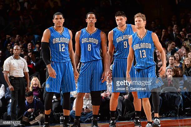Tobias Harris Channing Frye Nikola Vucevic and Luke Ridnour of the Orlando Magic during the game on November 12 2014 at Madison Square Garden in New...